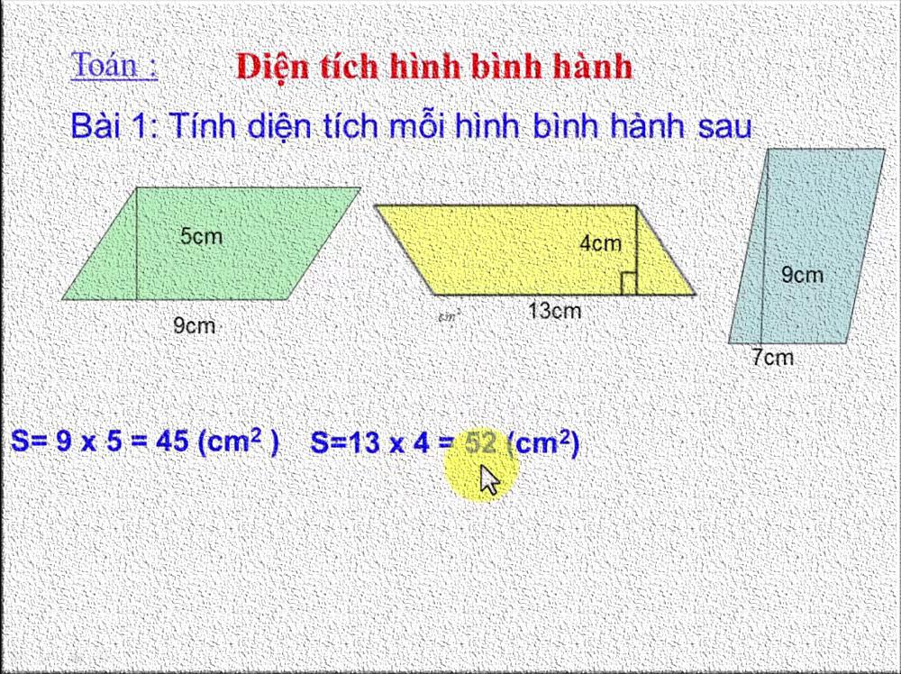 Cách tính diện tích hình bình hành nhanh và chuẩn xác
