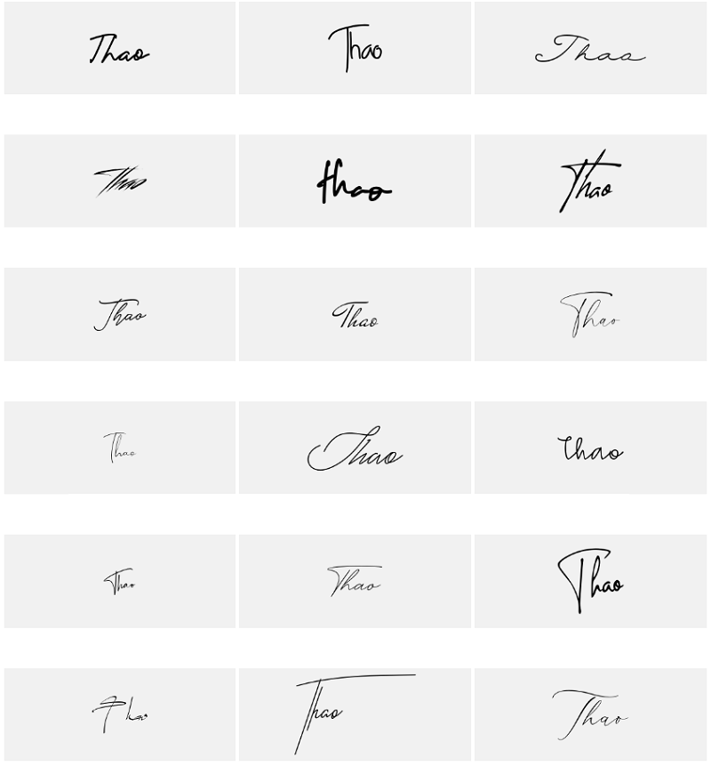 Mẫu chữ ký tên Thảo