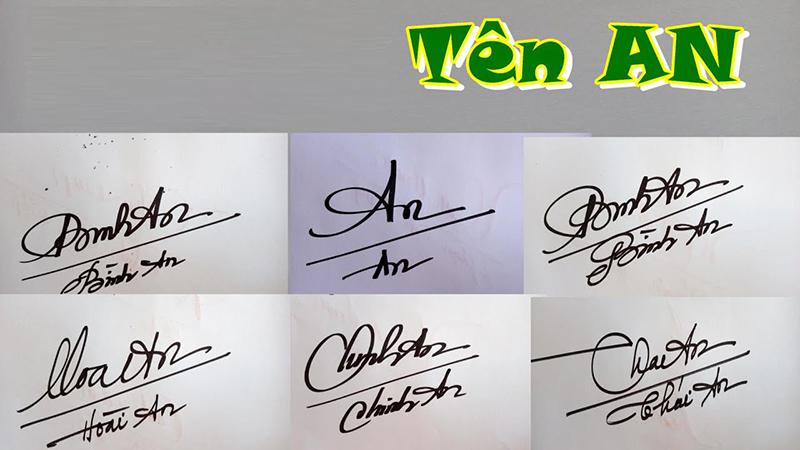 Mẫu chữ ký tên An hoặc Ân