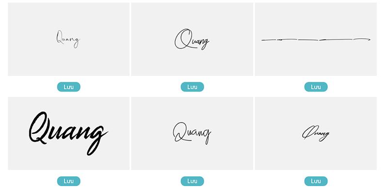 Mẫu chữ ký tên Quang